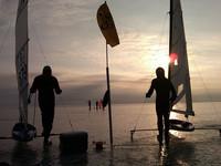 """""""Line 'em up!"""" for the final Gold Fleet race Friday evening (Martin Scheider and Matt Struble)"""